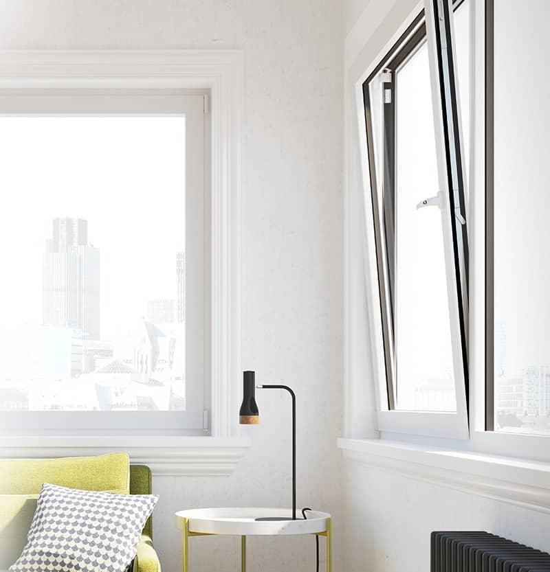 tilt and turn aluminium windows in white
